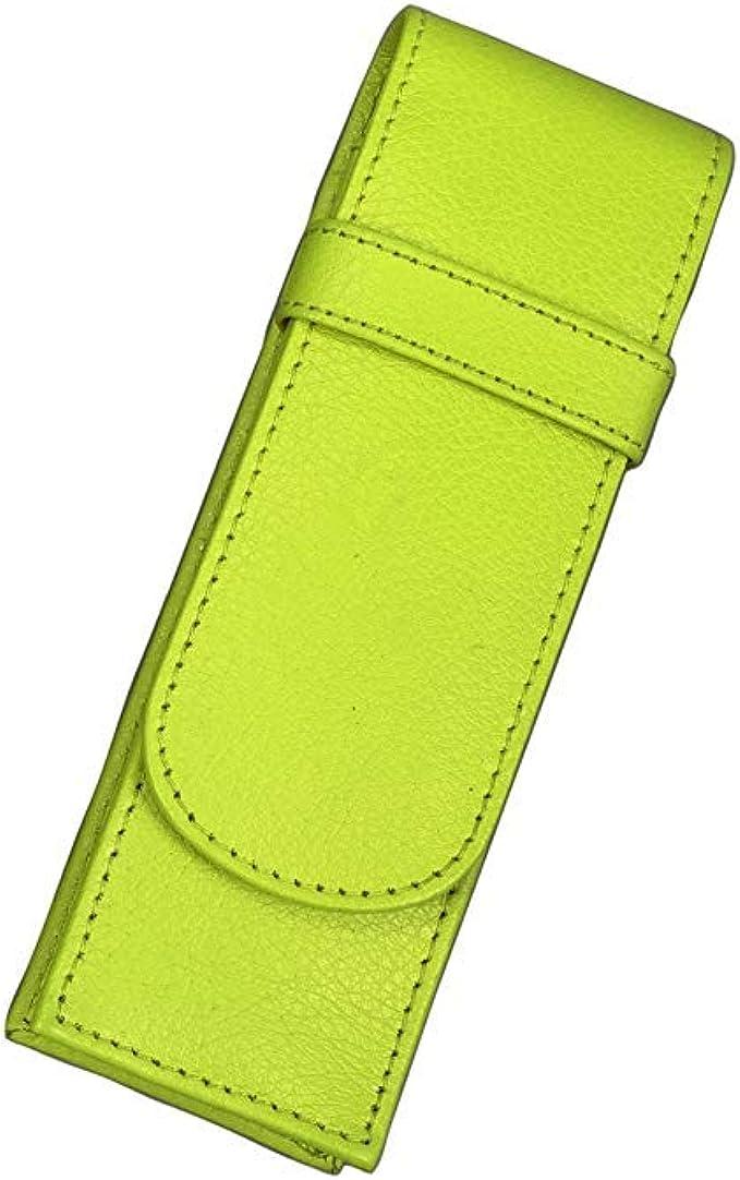 Alassio 2672 - Estuche de piel para 2 lápices (14 x 4,5 x 2 cm), color verde claro: Amazon.es: Ropa y accesorios