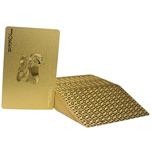 Ogrmar 24K Gold-Foil Plated Playing Cards Poker Table Games (golden) (Card Dimensions Table)