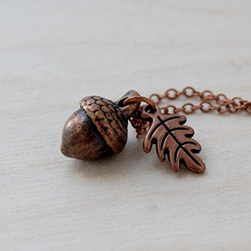 Enchanted Leaves - Copper Acorn Necklace - Cute Fall Acorn Charm Necklace