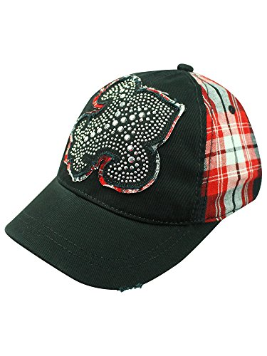 Black Red Plaid Baseball Cap With Giant Fleur De Lis