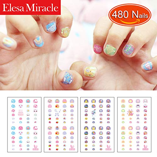 Elesa Miracle Kids Nail Stickers for Little Girl Nirl Art Decals Party Favor Pretend Play Princess Jewelry 480 Nails