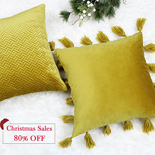 Valery Madelyn Solid Yellow Velvet Decorative Pillow Cover 18 x18 Inch Throw Pillow Case for Sofa Couch, Wool Tassels and Breathable Quilting Design( Set of 2) (Decorative Tassel Pillows)