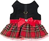 Plaid Dress Cozy Waterproof Windproof Vest Winter Jacket Coat Sweater Hoodie Furry Collar Black Harness Pet Puppy Dog Christmas Clothes Costume Outwear Coat Apparel Cat (Medium)