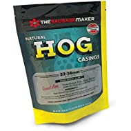 """The Sausage Maker - North American Natural Hog Casings for Home Sausage Making, Make 25 lbs. of Standard Italian, Polish and Bratwurst at about ~1.5"""" Stuffed Diameter Links"""