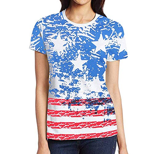 Nihewoo Women's American Flag Tee Shirts Plus Size T Shirt Short Sleeve Blouse 7th July Patriotic USA Flag Tops Pullover Blue