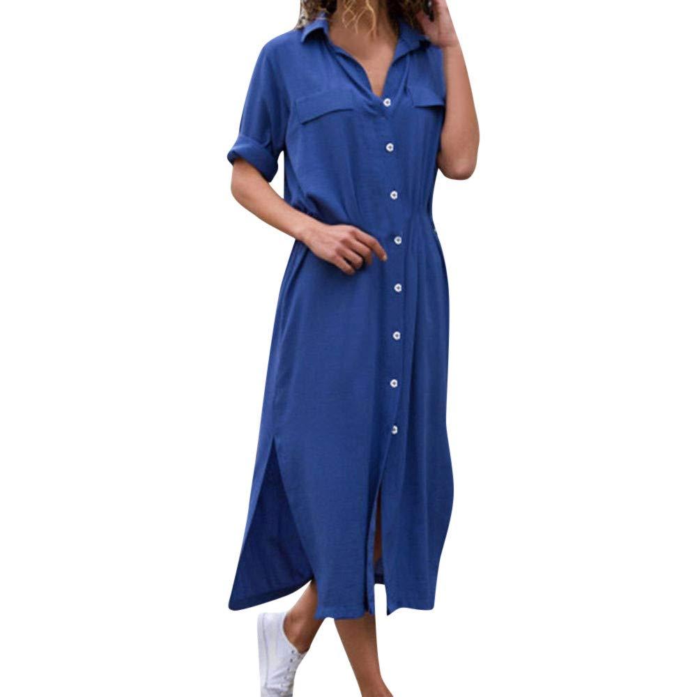 Deatu Womens Shirt Dress Ladies Casual Stylish Button Long Shirt