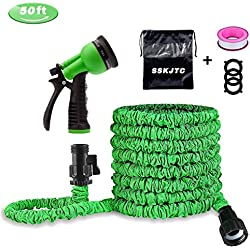 SSKJTC Garden Hose Water Hose Expandable to 50ft with Triple Layer Latex Core, Latest Improved Extra Strength Fabric Protection with 8 Function Spray Nozzle for All Your Watering