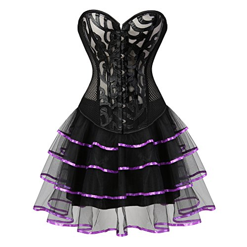 Grebrafan Damen Breathable Corset Party Kleid Corsage mit Tüllrock Violett  KcQ1t d51073dab2