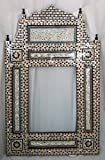 W146 Gorgeous Mosaic Mother of Pearl Wood Mirror Rectangular Frame