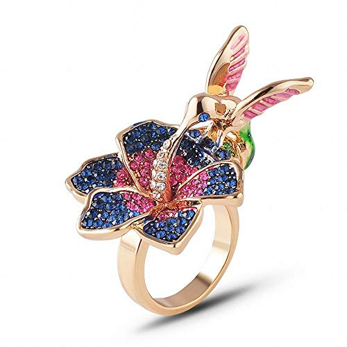 S001 Creative Three-Dimensional Flower Orchid Ring Exaggerated Atmosphere Micro-Studded Flower Ring, Gold, 6