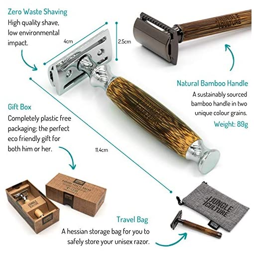 Jungle Culture® Bamboo Safety Razor for Men & Women | Premium Eco Friendly Razor & Travel Bag | Fits All Double Edge… Manual Shaving [tag]