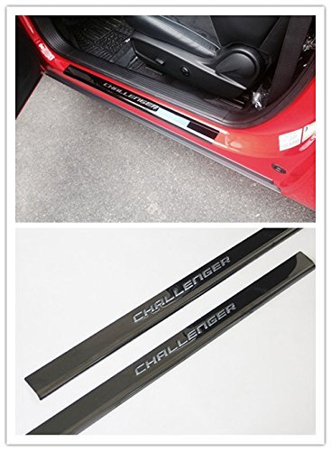 Niceautoitem 2 Colors Stainless Steel Car Door Entry Guards Sill Plate for 2009-2016 Dodge Challenger (Black)