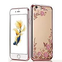 iPhone 7 Plus 5.5 Crystal Flower TPU Cover-Auroralove Shiny Fashion Transparent Soft Floral Butterfly Graden Case with Original Swarovski Element for iPhone 7 Plus (iphone 7 plus, Rose Gold+Pink)