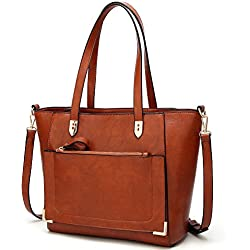 YNIQUE Women Top Handle Handbags Satchel Purse Tote Bag Shoulder Bag, Brown Medium