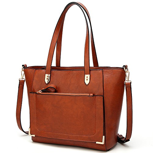 YNIQUE Women Top Handle Handbags Satchel Purse Tote Bag Shoulder Bag, Brown, (Zip Shoulder Satchel)