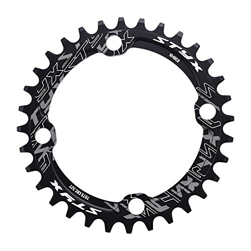 ring Guard,BCD 104 Mountain Bike Steel Single Crank Chain Ring Repair Parts,Easy to Install and Fits for Long Time Use.(32T-Black) ()
