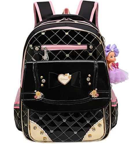 Waterproof PU Leather Kids Princess Backpack Cute School Bookbag for Girls (Large, Bowknot -