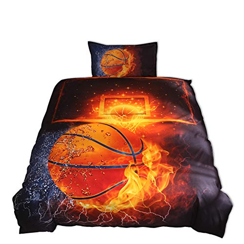 Lldaily 3D Sports Basketball Bedding Set Teen Boys,Duvet Cover Sets Pillowcases,Twin Size,2PCS,1 Duvet Cover+1 Pillow Shams,(Comforter not Included)