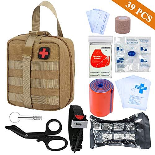 First aid Kit-Tactical Bag,Tourniquet,Adhering Stick,Mylar Blanket,Survival Whistle,CPR Mask,Alcohol Pad,Israeli Bandage,Splint Roll,Medical EMT Scissors (Tan)