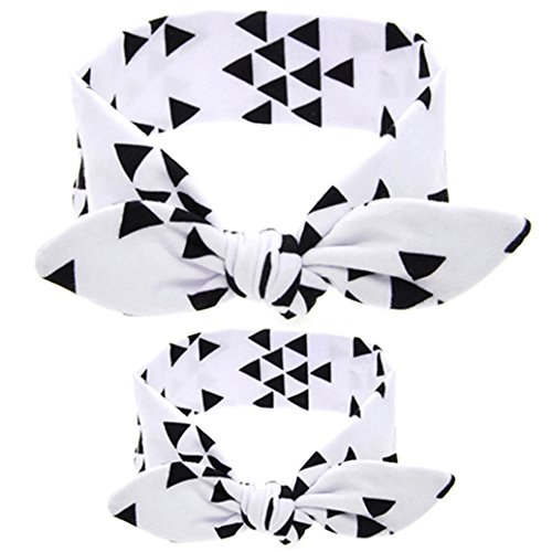 Catnew Fashion Mom Daughter Rabbit Ear Print Headband Baby Hair Band Parent Child Headwear (White)