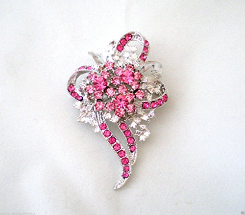 Rose Pink Crystal Breast Cancer Awareness Ribbon Flower PIN Brooch Scarf ClipsCorsage Jewelry for Woman PIN Gift for HER ()