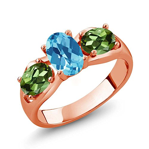 1.95 Ct Oval Checkerboard Swiss Blue Topaz Green Tourmaline 18K Rose Gold Plated Silver Ring