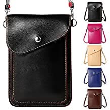 ZZJ Women's PU Leather Wallet Case Purse w/ Shoulder Strap for Apple iPhone 7 Plus / 7 / HTC 10 / One A9s / Huawei Nova 2 Plus / Honor 9 / P10 / P10 Plus / Nokia 5 6 (1 - Black)