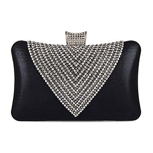 2018 Spring Women's Handmade Handbag Silk Fabric Rhinestone Beaded Envelope Clutch Wedding Purse (Black)