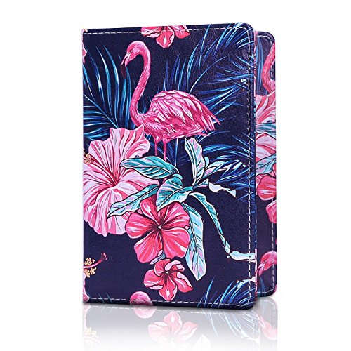 HDE RFID Passport Holder Wallet - RFID Blocking Cover Case for Travel Passports - Identity Theft Protection (Flamingo Flowers)