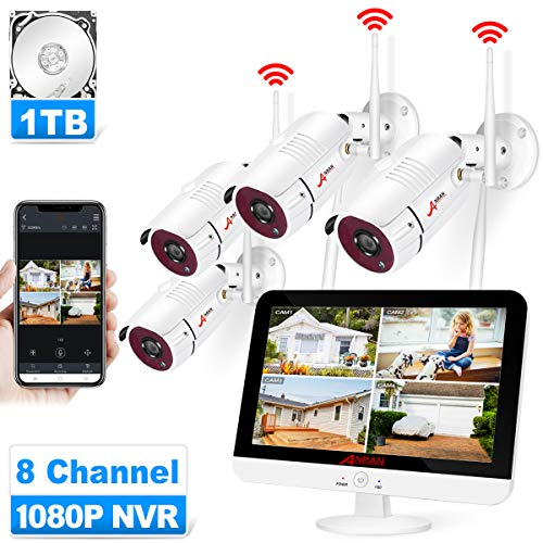 "[8CH Expandable] ANRAN All-in-one Wireless Security Camera System with 13"" LCD Monitor, 8CH 1080P WiFi NVR Kits Pre…"