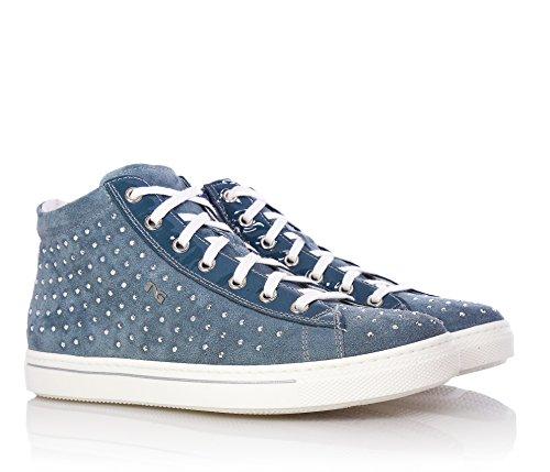 NERO GIARDINI - Baskets bleues à lacets, en suède, applications en cuir,strass,fille,filles,enfant,femme