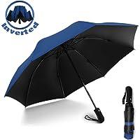 YRH Reverse Automatic Open Close Folding Umbrella,Windproof Golf Car Travel Large Inverted Compact Portable Sun&Rain UV Ultraviolet-Proof Umbrella Men Women,46 Inch (Dark Blue)
