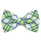 Green White and Blue Plaid Pet Bow Tie - The Maxwell