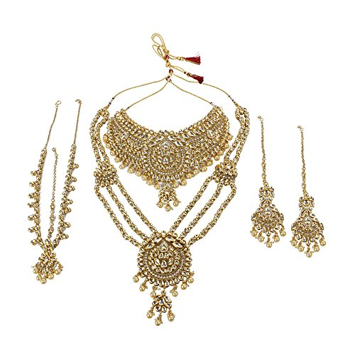 Ethnic Bollywood Fashion Gold Plated Kundan Necklace Indian Bridal Set Partywear Traditional Jewelry by Muchmore