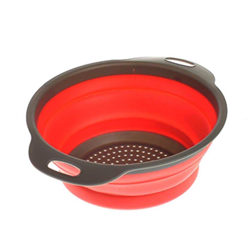 MAXGOODS Scolapasta Pieghevole - Setaccio Alimentare In Silicone Senza BPA Con Manici In Plastica - Resistente Al Calore E Verdure Cucina Scolapiatti Cestello a Vapore.Arancione Grande
