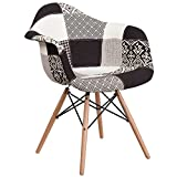 Flash Furniture Alonza Series Turin Patchwork Fabric Chair with Wood Base