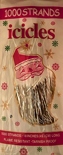 Christmas Tree Tinsel Icicles, Silver, 1000 Count