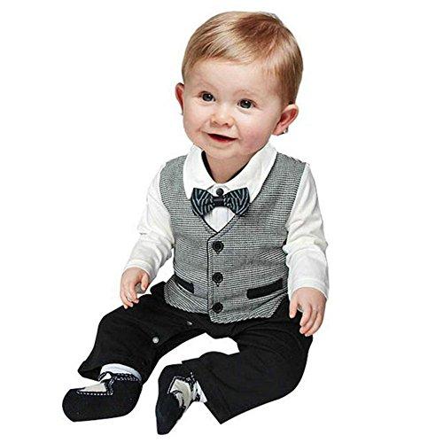 Price comparison product image ESHOO Cute Baby Boy Cotton Gentleman Romper Jumpsuit Bodysuit Clothes Outfit 0-18M