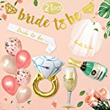 Bachelorette Party Decoration Rose Gold Bridal Shower Decorations kit Bride To Be Banner Veil Sash for Bride,30''Engagement Diamond Ring Champagne Bottle Goblet Foil Balloons Rose Gold Confetti Balloon