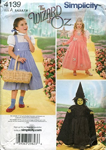 Simplicity 4139 'Wizard of Oz' Dorothy, Wicked Witch and Glinda Good Witch Halloween Costume Sewing Pattern for Children, Sizes 3-8 -