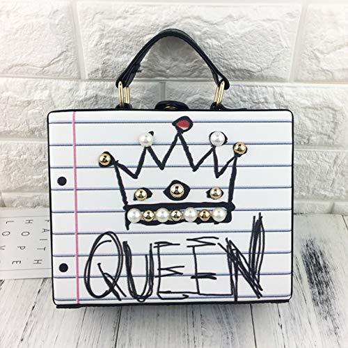 dames main bourse précarisés lettre diamants Pnizun sac crossbody perle Bleu messager Reine rivet à boîte mode sac partie forme Wifi 7ExEO4