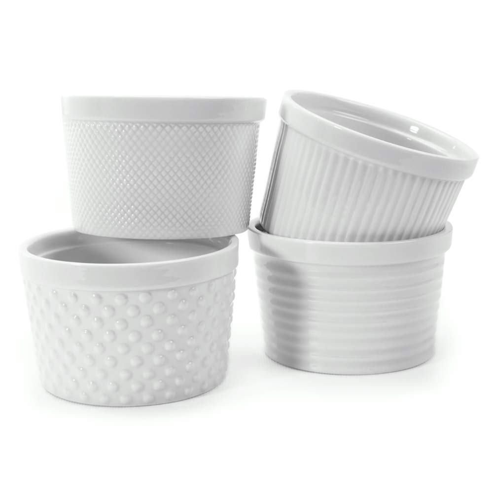 White Porcelain Textured Ramekins 12 oz, Set of 4, Gift Boxed MyCuisina