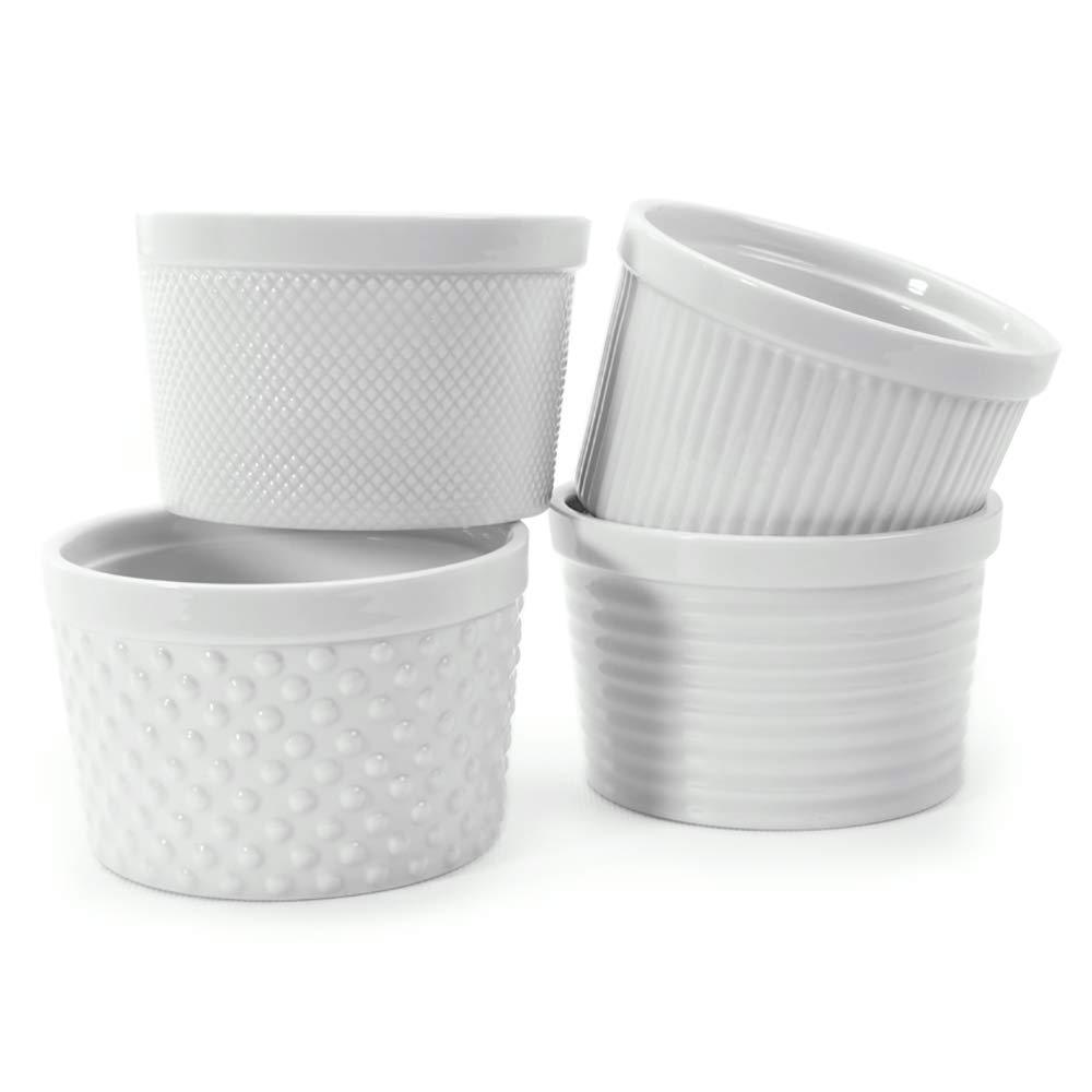 White Porcelain Textured Ramekins 12 oz, Set of 4. Gift boxed.