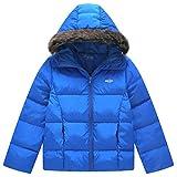 Wantdo Boy's Ultra Light Down Jacket Windproof Hoodie Sportswear Short Parka for Running(Sapphire Blue, 10/12)