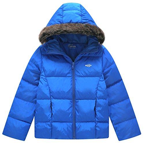 Wantdo Boy's Ultra Light Down Jacket Windproof Hoodies Zipped Outwear Short Parka for Traveling(Sapphire Blue, 8) (Layer Puffy Jacket)
