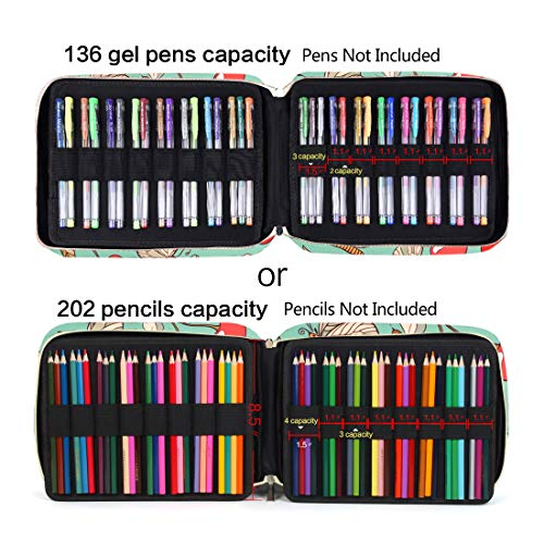 Pencil Case Holder Slot - Holds 202 Colored Pencils or 136 Gel Pens with Zipper Closure - Large Capacity Polyester Pen Organizer for Watercolor Pens or Markers - Perfect for Artist Cherry