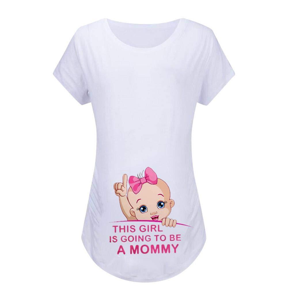 Zerototens Pregnant T Shirt Mama Women's Maternity Tops Summer Short Sleeve Crewneck Cartoon Baby Printed Maternity Baby Blouses Funny Print Tee Tops