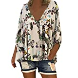 Women's Boho Patchwork V Neck Plus Size Long Puff Sleeve Loose Top T Shirt Blouse White