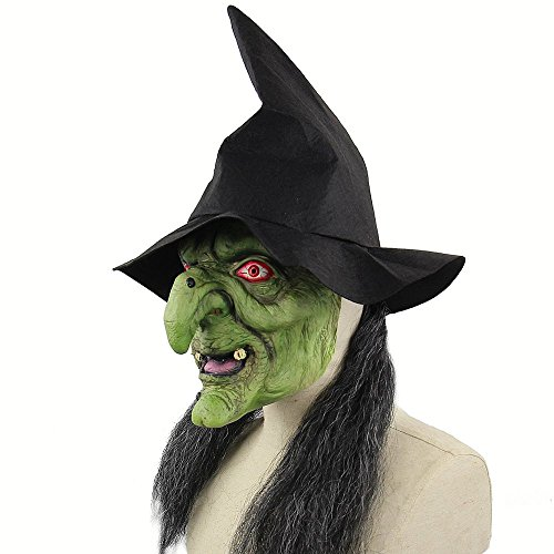 Latex Full Head Scary Green Witch Mask Horror Creepy Mask for Halloween Masquerade Costume Cosplay Party -