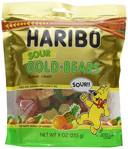 Haribo of America Stand-Up Re-Sealable Bag Sour Gold-Bears, 8 (Haribo Sour)